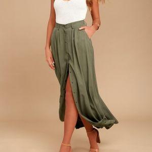 Pistola My Squad Olive Green Maxi Skirt